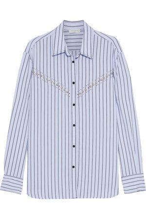 Sandro Women Long sleeves - Woman Viala Embellished Striped Poplin Shirt Light Size 4