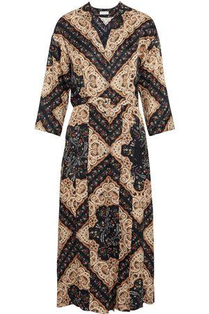 Sandro Women Printed Dresses - Woman Steva Pleated Printed Satin-jacquard Midi Dress Sand Size 34