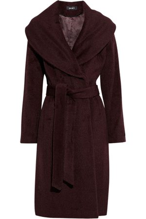 DKNY Woman Belted Brushed Wool-blend Coat Burgundy Size 10