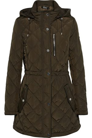 DKNY Woman Quilted Shell Hooded Parka Army Size L