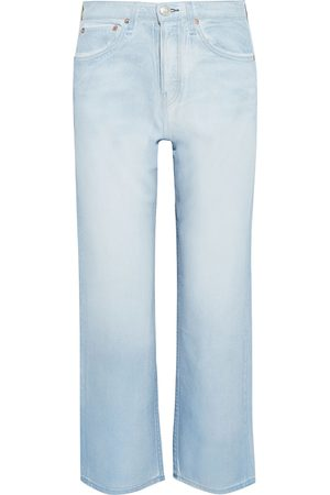 RAG&BONE Woman Maya Cropped Metallic Coated High-rise Straight-leg Jeans Light Denim Size 25