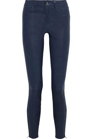 J Brand Women Leather Pants - Woman L8001 Stretch-leather Skinny Pants Storm Size 23