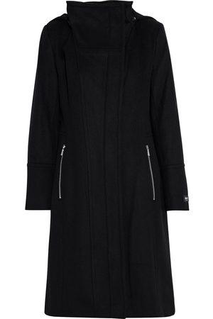 DKNY Women Coats - Woman Wool-blend Felt Hooded Coat Size L