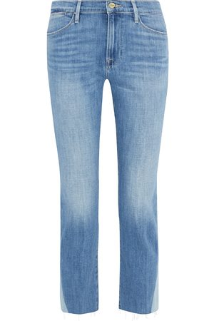 Frame Women High Waisted - Woman Le High Straight Cropped Paneled High-rise Straight-leg Jeans Light Denim Size 24