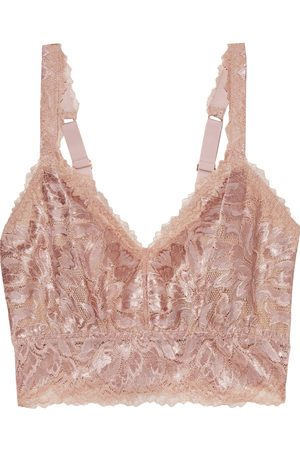 Cosabella Women Bralettes - Woman Natalia Metallic Stretch-leavers Lace Bralette Rose Size L