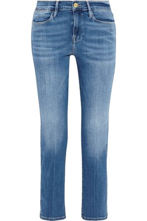 Frame Women High Waisted - Woman Le High Straight Cropped High-rise Straight-leg Jeans Mid Denim Size 29
