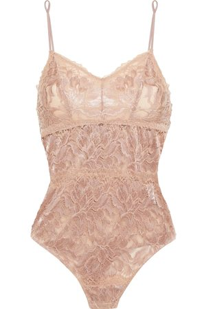 Cosabella Woman Natalia Stretch-leavers Lace Bodysuit Taupe Size L