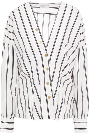 Sandro Women Long sleeves - Woman Naelle Snap-detailed Striped Cotton-poplin Shirt Size 2