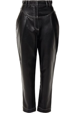 Serafini Woman Cropped Faux Leather Tapered Pants Size 44