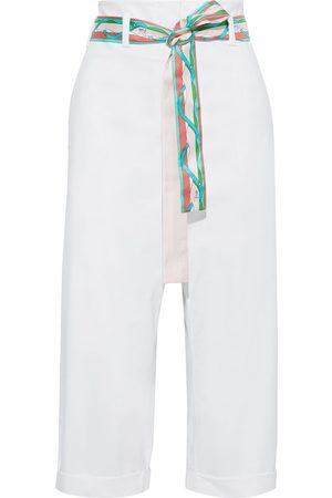 Emilio Pucci Women Straight Leg Pants - Woman Cropped Belted Sateen Straight-leg Pants Size 38