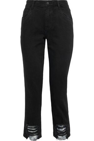 J Brand Women High Waisted - Woman Ruby Cropped Distressed High-rise Slim-leg Jeans Size 24