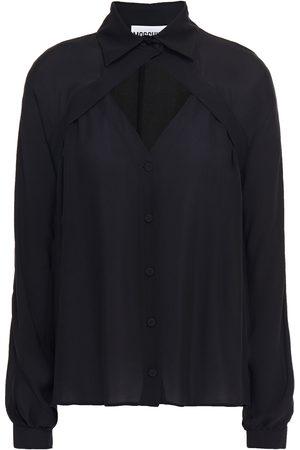 MOSCHINO Women Long sleeves - Woman Cutout Silk-crepe Shirt Size 36