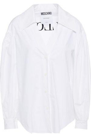 Moschino Woman Embroidered Cotton-blend Poplin Shirt Size 36