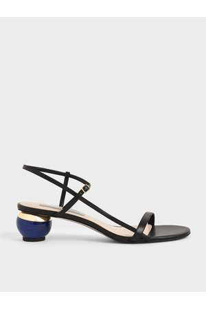 CHARLES & KEITH Sculptural Heel Ankle Strap Sandals