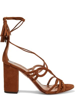 Aquazzura Woman Gitana 85 Lace-up Suede Sandals Light Size 35