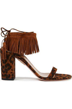 Aquazzura Woman Fringed Leopard-print Suede Sandals Animal Print Size 37.5