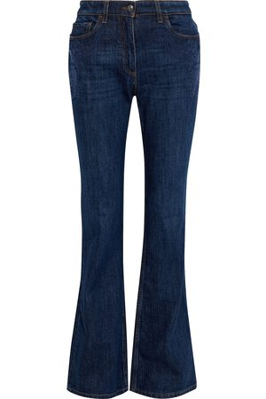 Etro Woman Embroidered High-rise Flared Jeans Dark Denim Size 28