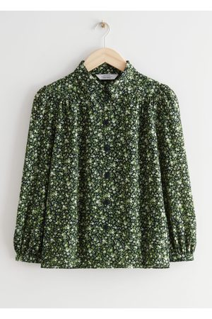 & OTHER STORIES Gathered Crepe Button Down Blouse