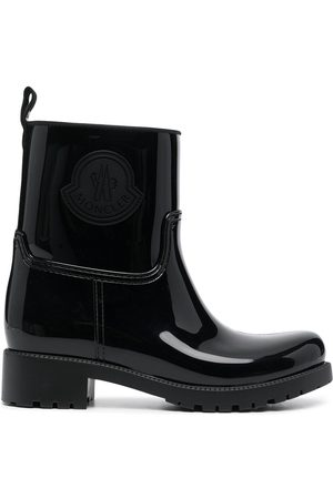 Moncler Logo-detail patent-leather ankle boots