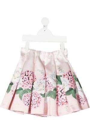 MONNALISA Girls Printed Skirts - Floral-print pleated skirt