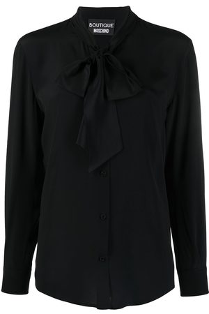 Moschino Tied-neck long-sleeved blouse