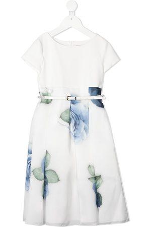 MONNALISA Belted rose-print dress