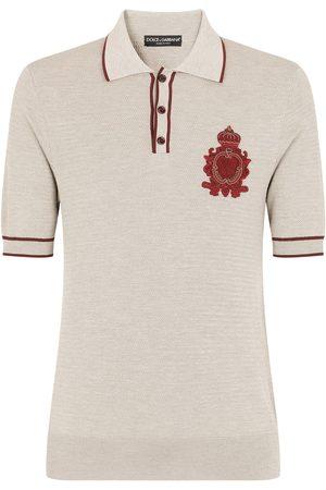 Dolce & Gabbana Crest-embroidered polo shirt - Grey
