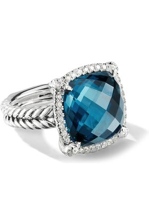 David Yurman 14mm sterling Chatelaine pavé diamond and blue topaz ring