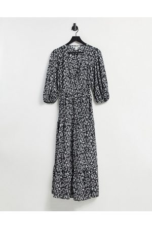 Glamorous Midi wrap dress with tiered skirt in vintage floral