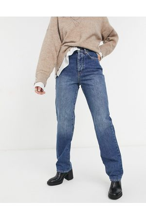 Topshop Carpenter jeans in mid wash blue-Blues