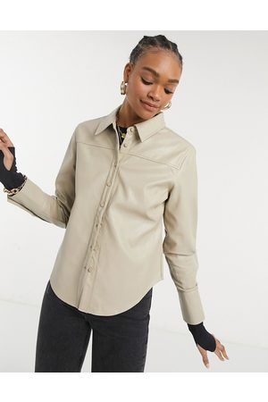 Steele Torri vegan friendly leather button up shirt in tan