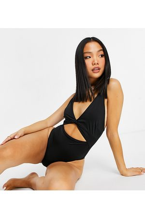 ASOS ASOS DESIGN petite recycled loop front swimsuit with knot in