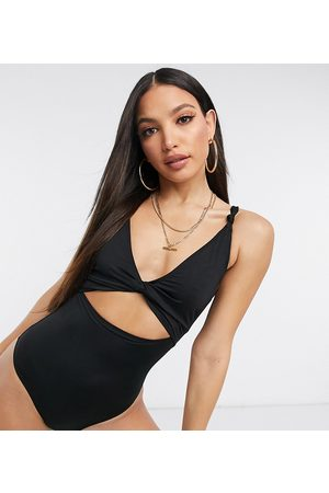 ASOS ASOS DESIGN tall recycled loop front swimsuit with knot in