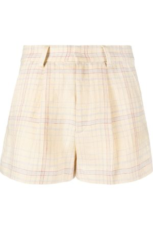 Isabel Marant Fine-check linen shorts