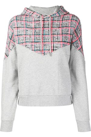 Karl Lagerfeld Bouclé-panel cotton hoodie - Grey