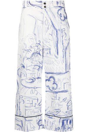 ERIKA CAVALLINI Sketch-print cropped trousers