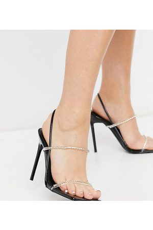 Simmi Wide Fit Simmi London Wide Fit Chanelle heeled sandals with rhinestone detail in