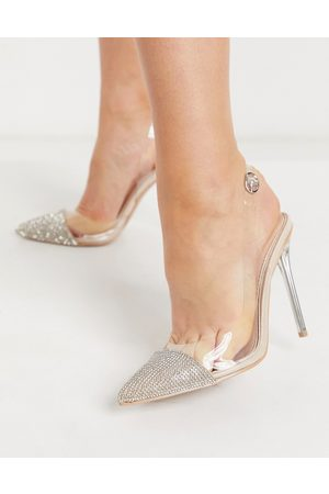 Be Mine Bridal Rania heeled shoes with embellished toe in clear