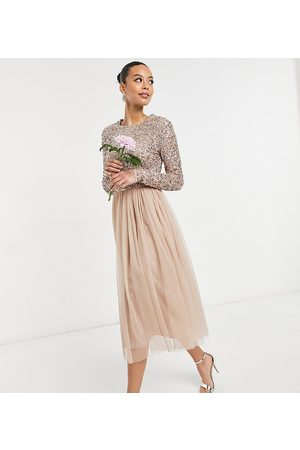 Maya Bridesmaid long sleeve midi tulle dress with tonal delicate sequins in taupe blush