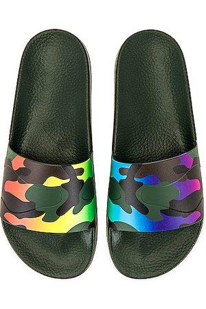 VALENTINO GARAVANI Slide Sandal in Abstract,Camo,Green,Purple,Yellow