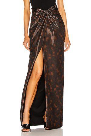 BRANDON MAXWELL High Slit Maxi Skirt in Animal Print