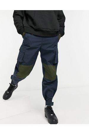Mennace Patchwork utility cargo pants in navy