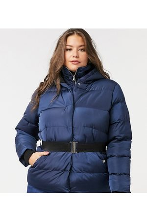 Simply Be Belted padded coat in navy