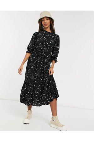 New Look High neck volume sleeve midi dress in star print