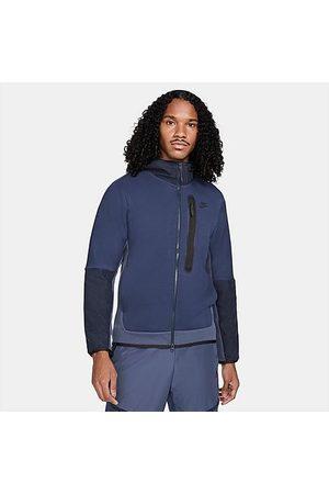 Nike Sportswear Tech Fleece Woven Full-Zip Hoodie in /Midnight Navy Size Small Cotton/Polyester/Fleece