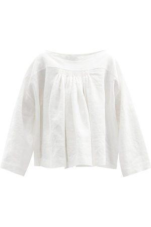 Zanini Women Tops - Silk-stripe Smocked Linen Top - Womens - Ivory