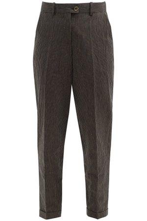 Zanini High-rise Pinstriped Linen-blend Trousers - Womens