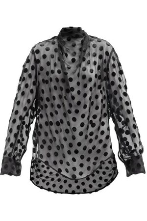 PETAR PETROV Cadie Polka-dot Devoré Silk-blend Georgette Blouse - Womens