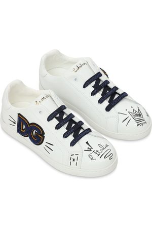 Dolce & Gabbana Leather Lace-up Sneakers W/ Logo Patch
