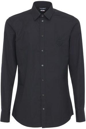 Dolce & Gabbana Logo Embroidery Cotton Poplin Shirt